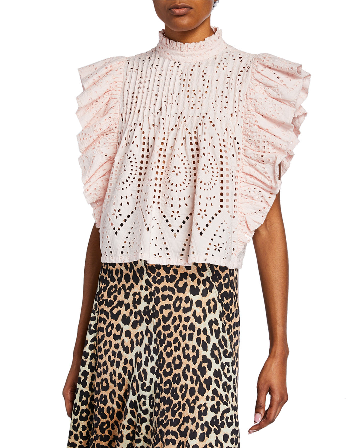 Ganni Tops High-Neck Cropped Eyelet Ruffle Top, PINK