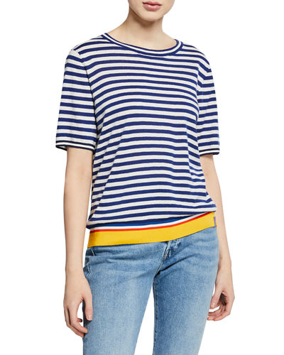 The Corinne Striped Short-Sleeve Top
