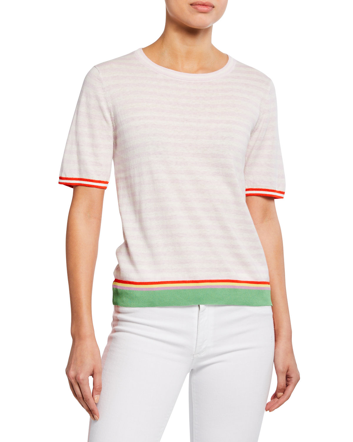 Kule Shorts THE CORINNE STRIPED SHORT-SLEEVE TOP