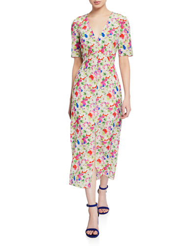 Eden Front-Slit Silk Floral Midi Dress