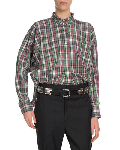 Olena Gingham Check Button-Front Blouse
