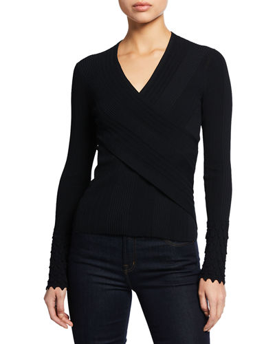 Elie Tahari Madeline V-Neck Long-Sleeve Surplice Sweater