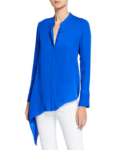Elie Tahari Asifa Button-Down Long-Sleeve Asymmetric Silk Blouse