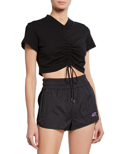 High Twist V-Neck Short-Sleeve Ruched Jersey Crop Tee w/ Ties