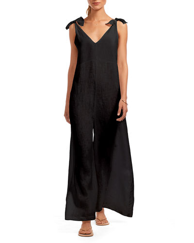 Marina Linen Wide-Leg Coverup Jumpsuit