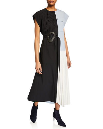 Edith Pleating Dress with Belt