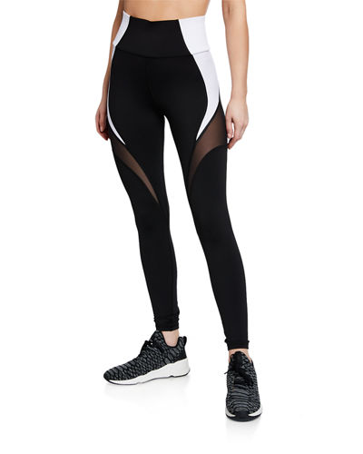 Glow Colorblocked High-Rise Mesh Leggings