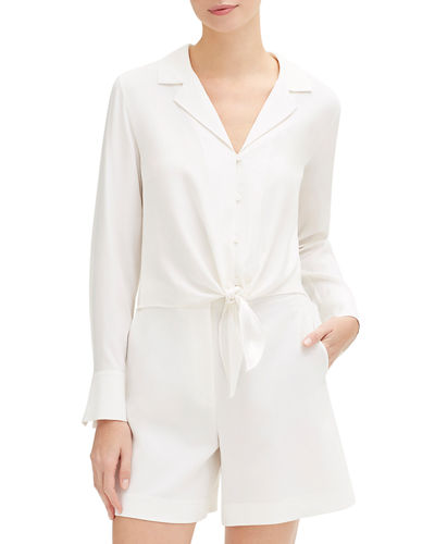 Miley Long-Sleeve Tie-Front Matte Silk Blouse