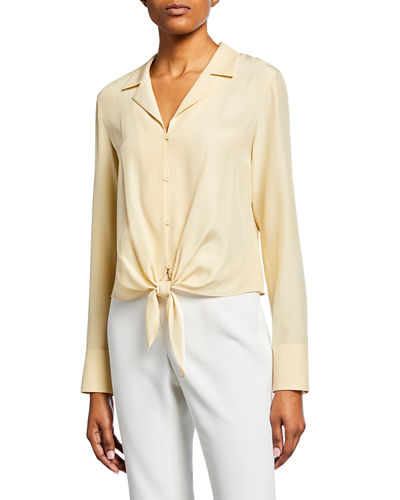 f17c5d1d5315 Miley Long-Sleeve Tie-Front Matte Silk Blouse
