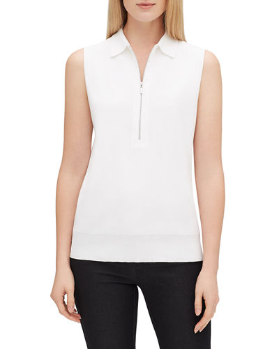 Zip-Front Sleeveless Fitted Polo Sweater