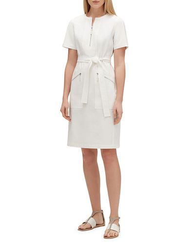 Lafayette 148 New York Elizabella Zip-Front Short-Sleeve