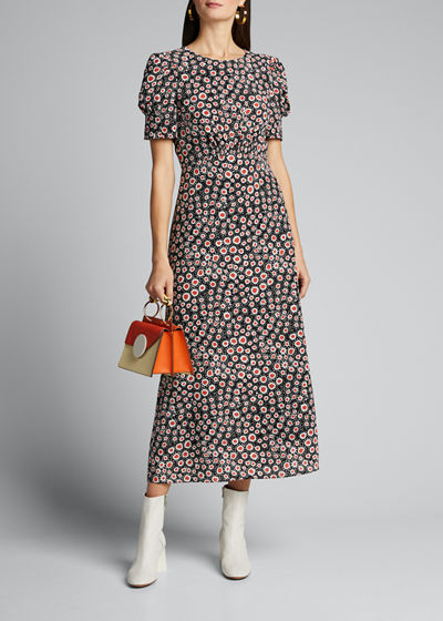 Floral Puff-Sleeve Silk Crepe De Chine Dress