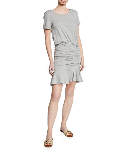Short-Sleeve Ruched Pima Cotton Mini Dress w/ Flounce Hem