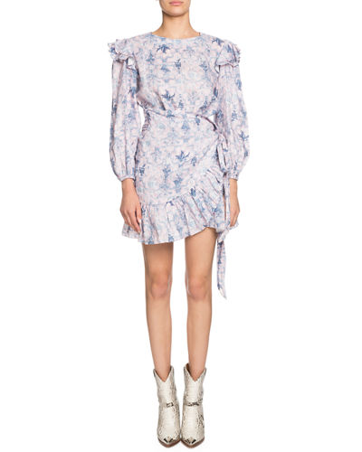 Etoile Isabel Marant Telicia Printed Linen Ruffle Belted