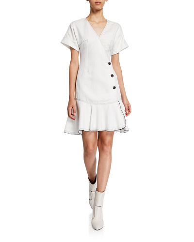 Derek Lam 10 Crosby Surplice-Neck Short-Sleeve Faux-Wrap Dress