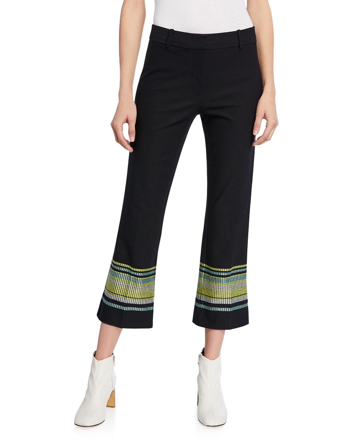 Derek Lam 10 Crosby Pants EMBROIDERED CROPPED FLARE TROUSERS