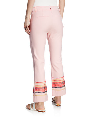 Embroidered Cropped Flare Trousers