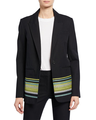 Single-Button Blazer with Embroidery