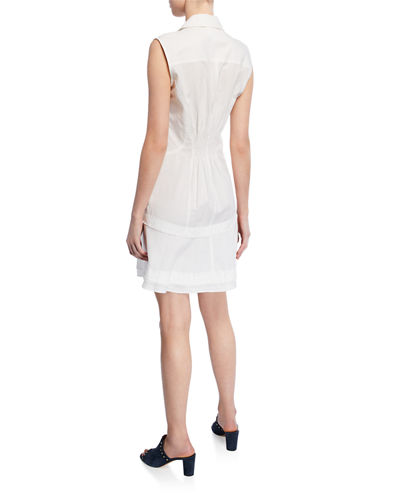 Button-Front Placket Sleeveless Ruffle-Hem Shirtdress