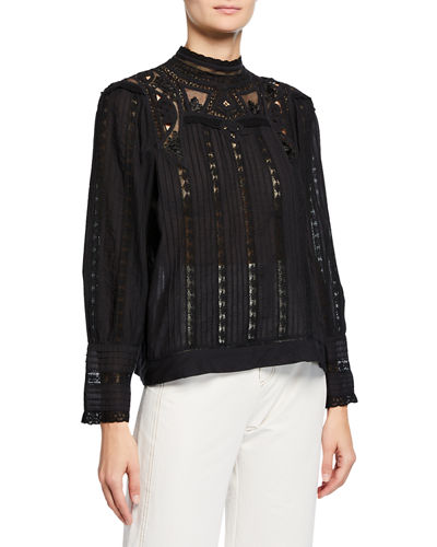 Aster Mock-Neck Long-Sleeve Top with Lace Insets