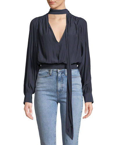 Winslow Shirred Tie-Neck Long-Sleeve Top