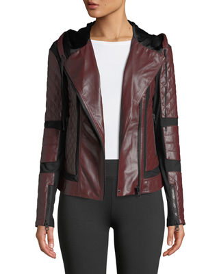 BLANC NOIR Voyage Hooded Diamond-Stitch Lace-Up Leather Moto Jacket in Red
