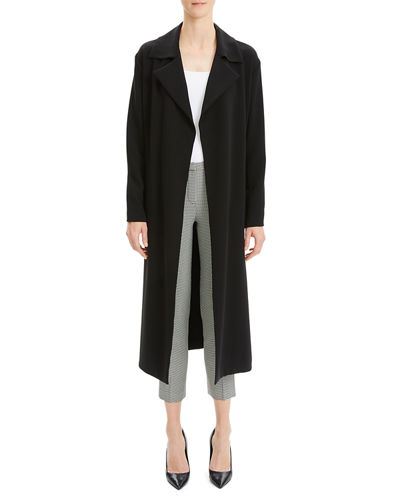 Simple Open-Front Long Trench Coat