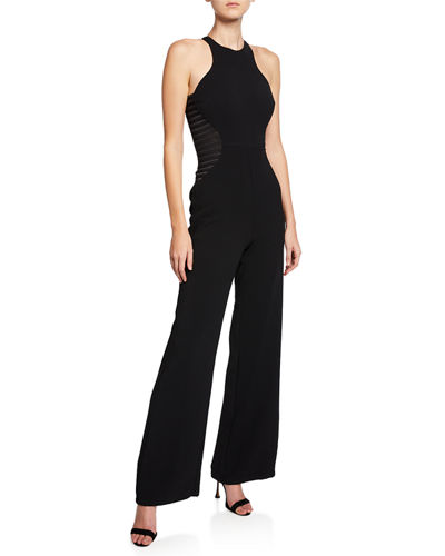 Sleeveless High-Neck Jumpsuit with Stripe Applique