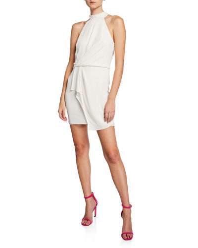 Turtleneck Sleeveless Mini Dress with Drape Front Detail