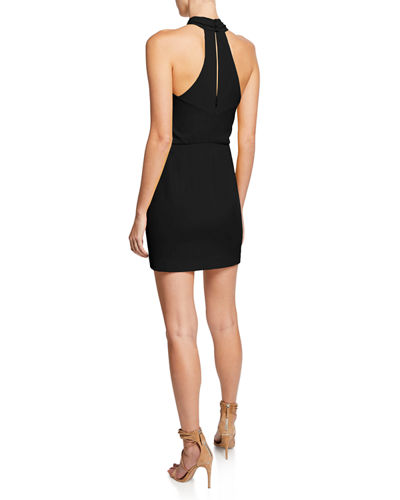 Sleeveless Wrap-Neck Fitted Mini Dress