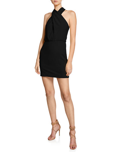 Halston Heritage Sleeveless Wrap-Neck Fitted Mini Dress