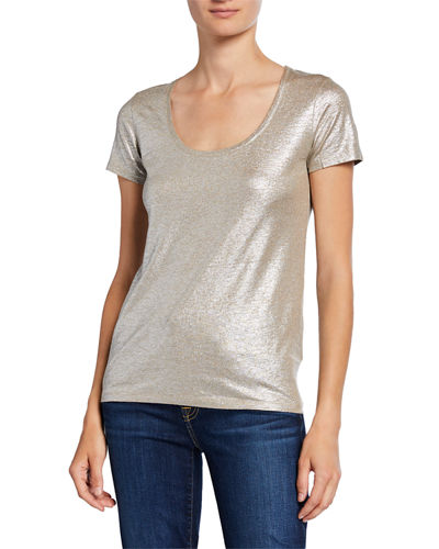 Metallic Scoop-Neck Short-Sleeve T-Shirt