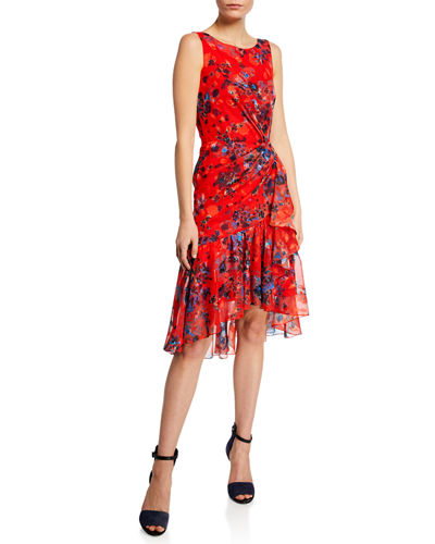 Burnout Floral-Print Sleeveless Chiffon Dress w/ Cascading Side Ruffle