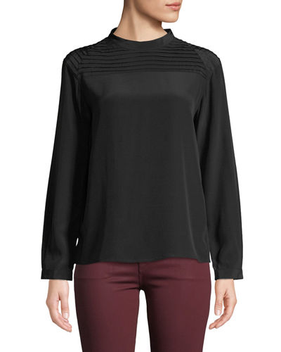 Chrystal Pleated Long-Sleeve Silk Top
