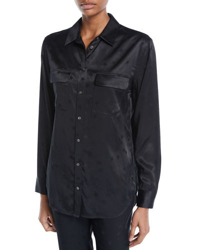 Equipment Signature Button-Front Star-Print Satin Blouse