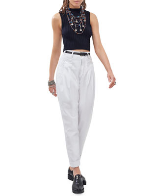 Cat Eye High-Rise Twill Trousers, White