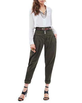 Cat Eye High-Rise Twill Trousers, Olive