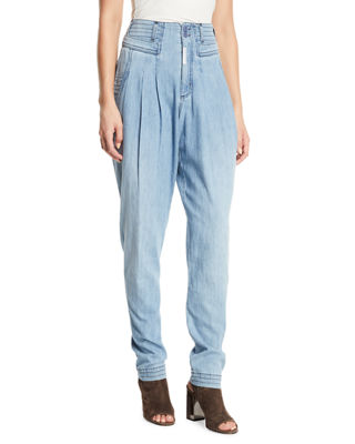 Cat Eye High-Rise Denim Trousers in Light Blue