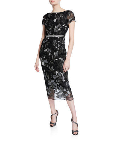 014414e613c Short-Sleeve Metallic Floral Embroidered Sheath Dress w/ Beaded Trim Quick  Look. Marchesa Notte