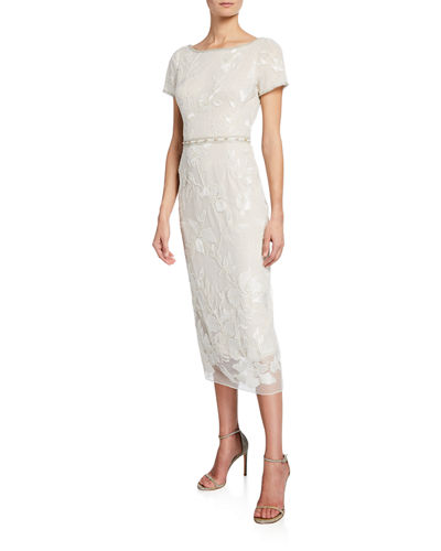 e048a3fb5bc Short-Sleeve Metallic Floral Embroidered Sheath Dress w  Beaded Trim Quick  Look. Marchesa Notte