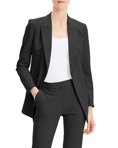 Etiennette One-Button Good Wool Suiting Jacket