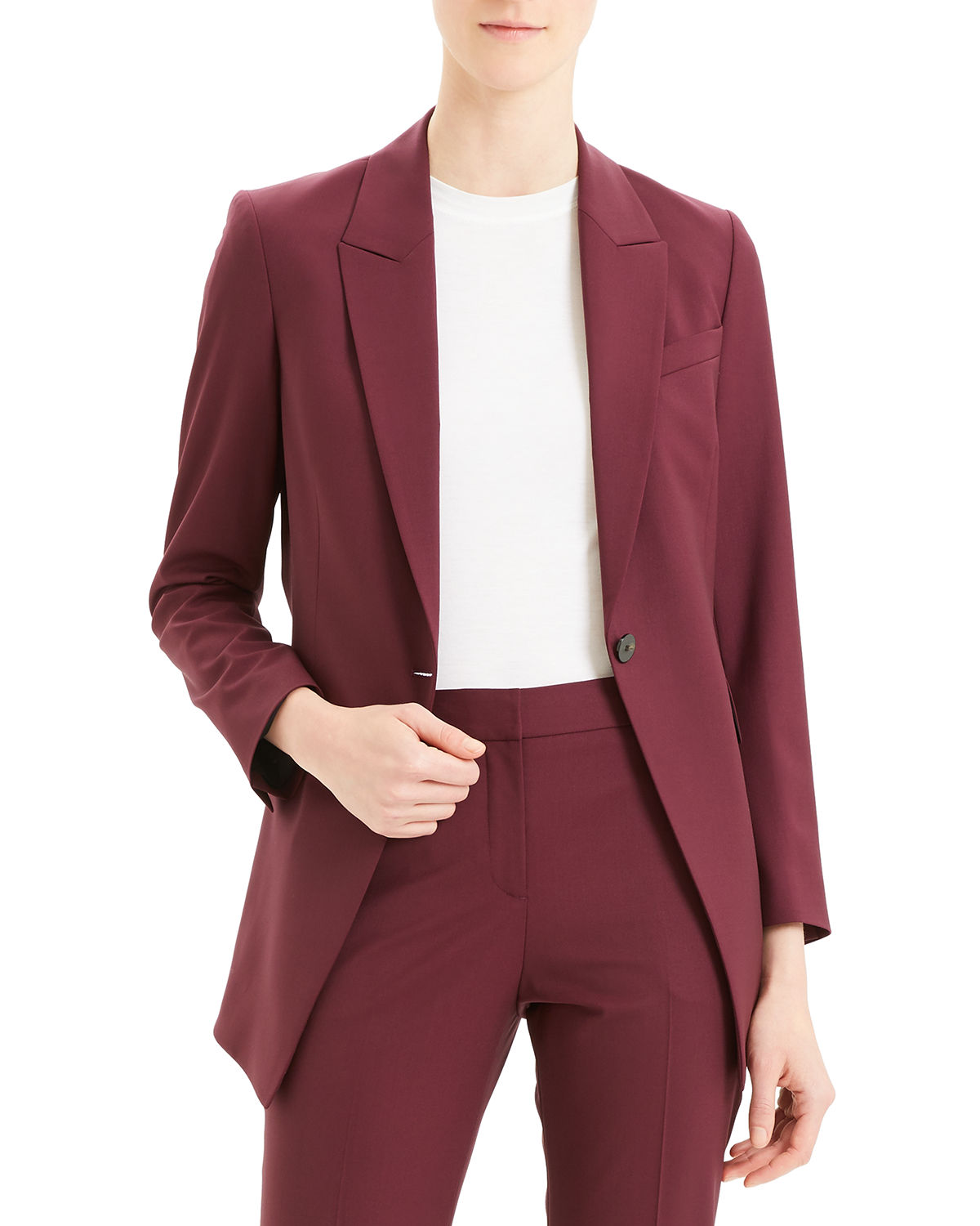 Theory Wools ETIENNETTE ONE-BUTTON GOOD WOOL SUITING JACKET