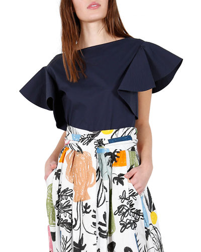 Wave Boat-Neck Ruffle Top