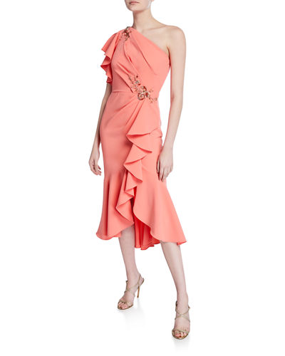March Book One-Shoulder Ruffle-Sleeve Crepe Dress w/ Beaded Embroidery
