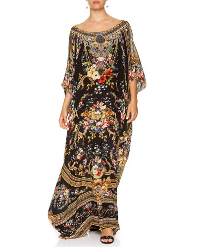 Round-Neck Printed Long Kaftan