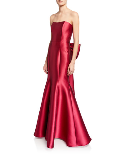 Strapless Mikado Pique Mermaid Gown with Back Draped Bow