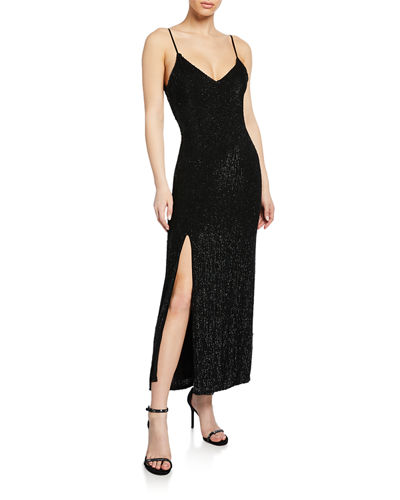 Rebecca Sequined V-Neck Slit Cocktail Dress