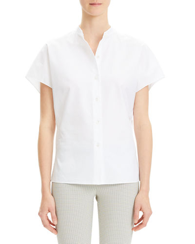 Dolman-Sleeve Mandarin-Collar Cotton Shirt