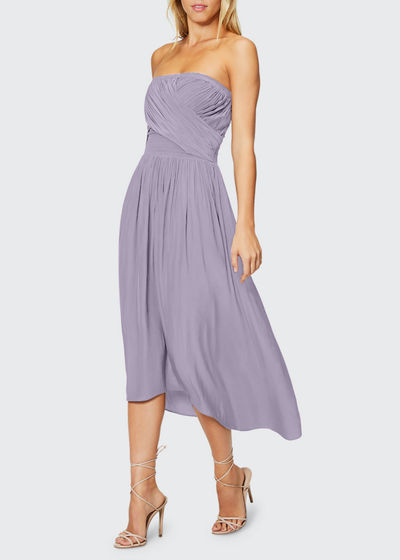 Ava Strapless Smocked Midi Dress