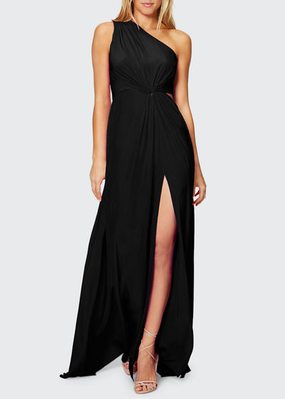 Linley One-Shoulder Twist-Front Dress with Slit & Cutout